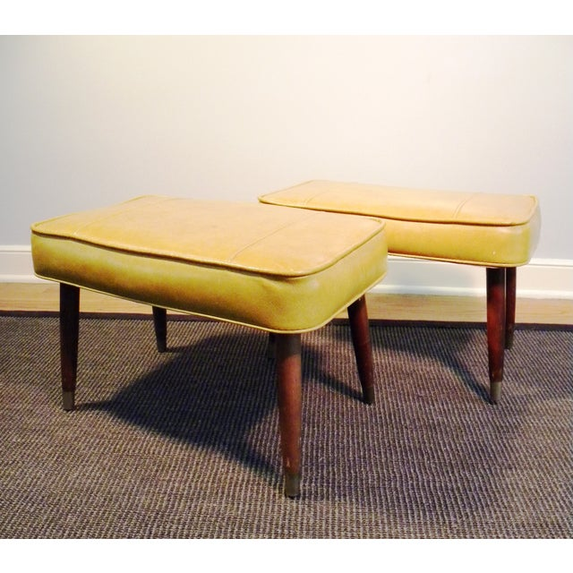 Vintage Mid-Century Gold Ottoman Footrests - Pair - Image 5 of 8