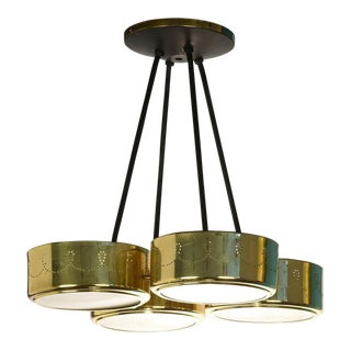 1960s Mid-Century Modern Gerald Thurston for Lightolier Four Shade Chandelier