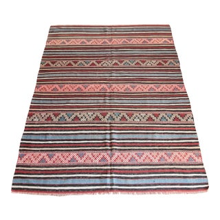 1950s Decorative Striped Design Floor Kilim Rug For Sale