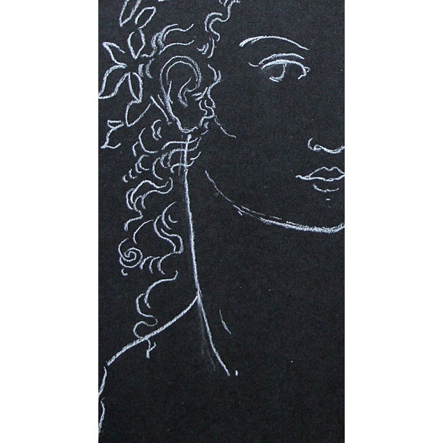 "Contemporary Sarah Myers ""Woman Crowned With Leaves"" White Charcoal Drawing For Sale - Image 3 of 8"