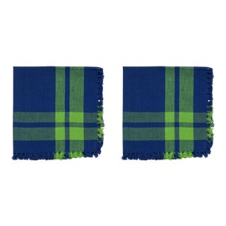 Squares Border Napkins, Blue & Green - A Pair For Sale