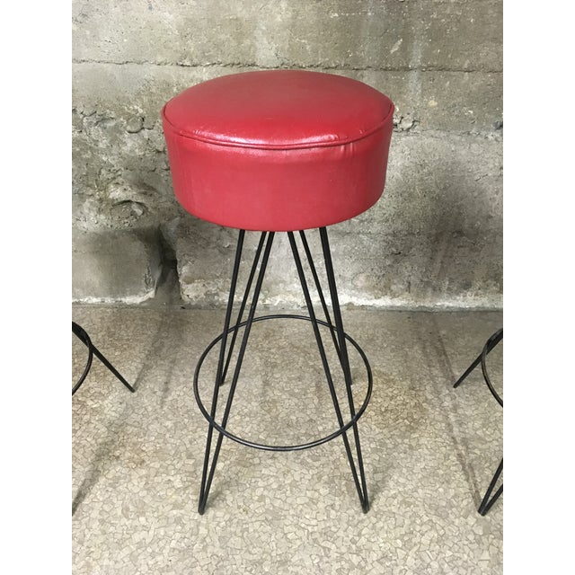 Frederick Weinberg Mid Century Iron Bar Stools- Set of 3 For Sale - Image 4 of 10