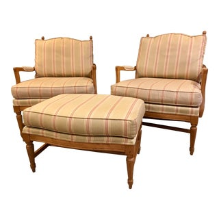 Modern Ethan Allen Bergere Chairs & Ottoman Set- 3 Pieces For Sale