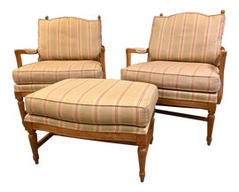 Image of French Country Chair and Ottoman Sets
