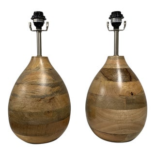 Jamie Young Co Wooden Lamps - a Pair For Sale