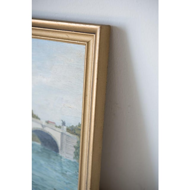French Pont Neuf Bridge Oil on Wood Painting For Sale - Image 4 of 5