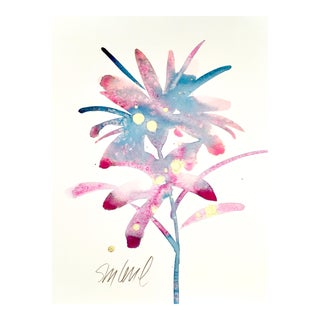 Botanical Pink and Blue B, Original Watercolor For Sale