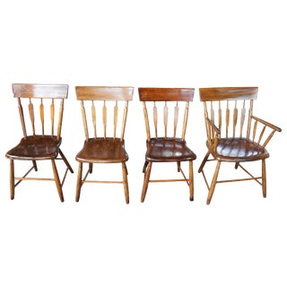 19th Century Antique Windsor Style Spindle Back Oak Dining Side Arm Chairs- Set of 4 For Sale