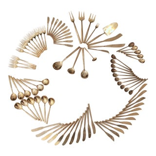 Sigvard Bernadotte-Style Minimalist Brass Flatware For Sale