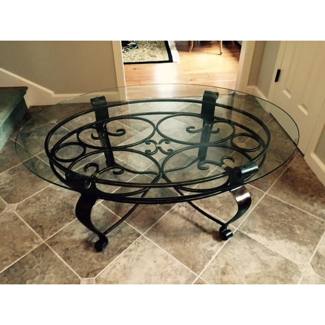 Glass & Iron Cocktail Table - Image 2 of 5