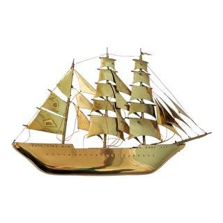 Vintage Mid-Century Brass Ship Model For Sale