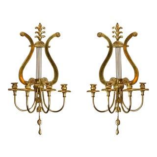 Caldwell Bronze Lyre Sconces - a Pair For Sale