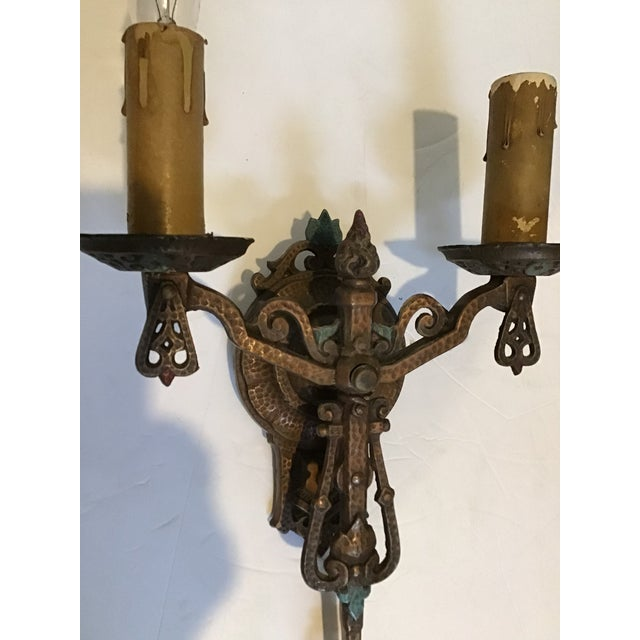 Art deco Victorian double candlestick wall sconce. Original Vintage Polychrome vibrant colors are stunning! Place in a...