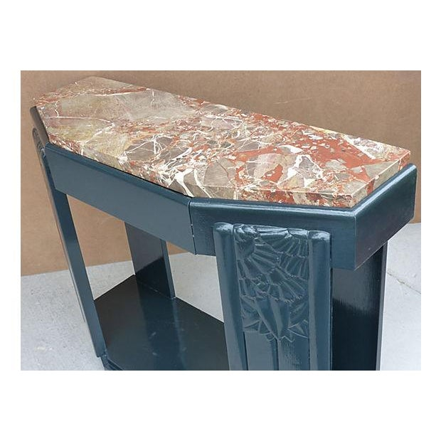 Art Deco Painted Wood Console with Marble Top - Image 6 of 8