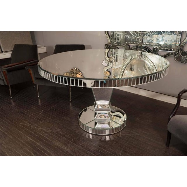 Silver Custom Round Mirrored Dining Table For Sale - Image 8 of 8