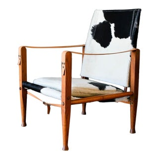 1950s Kaare Klint Safari Black & White Cowhide Chair For Sale