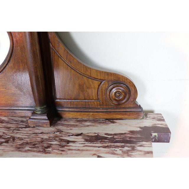 Brown 20th Century Italian Empire Style Oak Console Table With Columns and Marble Top For Sale - Image 8 of 12