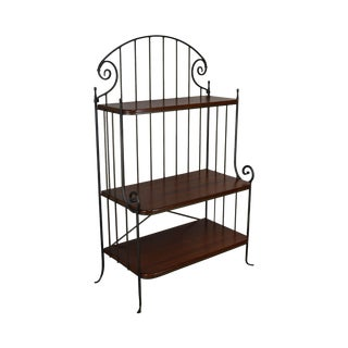 Charleston Forge Iron & Cherry Wood 3 Tier Bakers Rack For Sale