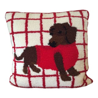 Vintage Pop Art Style Crewel Dachshund Pillow For Sale