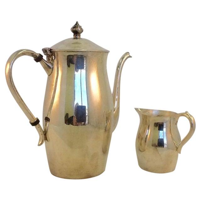 Vintage Coffee Pitcher. Vintage Creamer. Silverplate Oneida Coffee Pitcher & Creamer - Image 1 of 7
