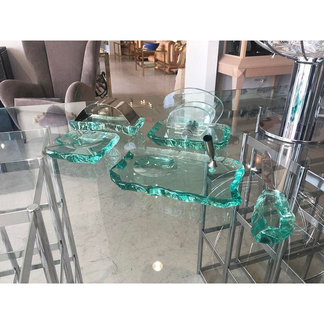 Turquoise Vintage Italian Pale Green Crystal Desk Set by Fontana Arte For Sale - Image 8 of 9