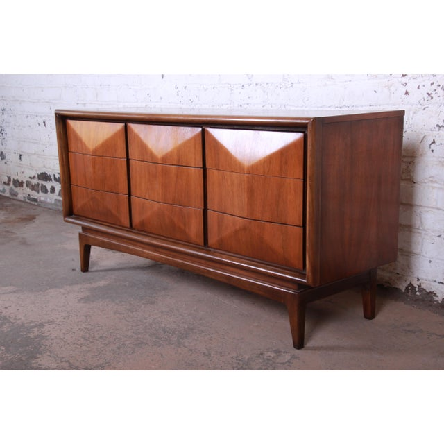 Mid-Century Modern Sculpted Walnut Diamond Front Triple Dresser or Credenza by United For Sale - Image 11 of 11