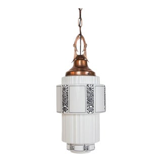 Restored Art Deco Milk Glass Pendant With Copper Fixture For Sale