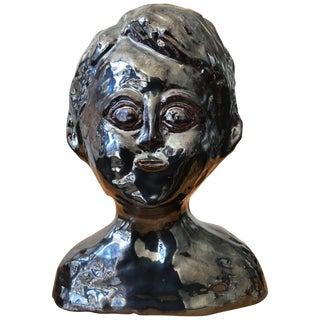 Glazed Metallic Ceramic Bust For Sale