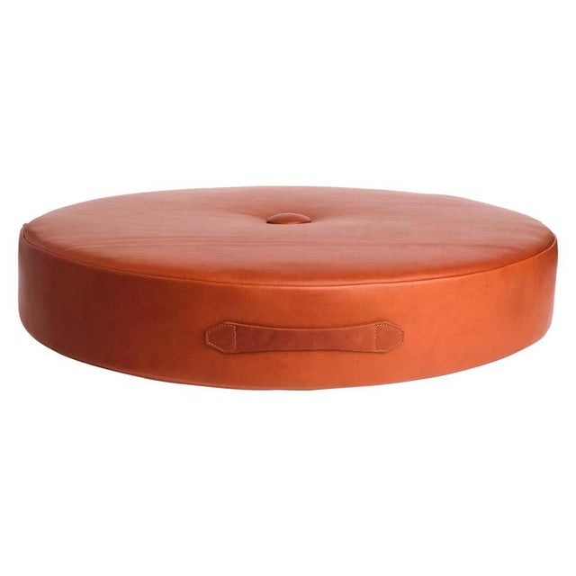 Leather Leather Drum Stacking Floor Cushion in Caramel by Moses Nadel For Sale - Image 7 of 7