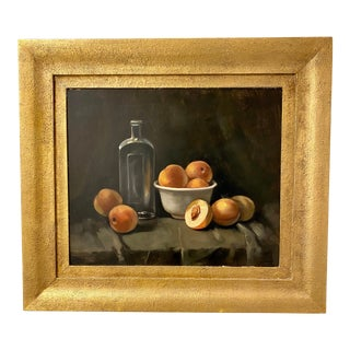 Vintage Still Life Oil Painting of Peaches, Ca 1930s For Sale