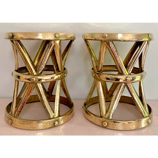 Mid Century Hollywood Regency Polished Brass Drum Tables, a Pair For Sale - Image 11 of 11