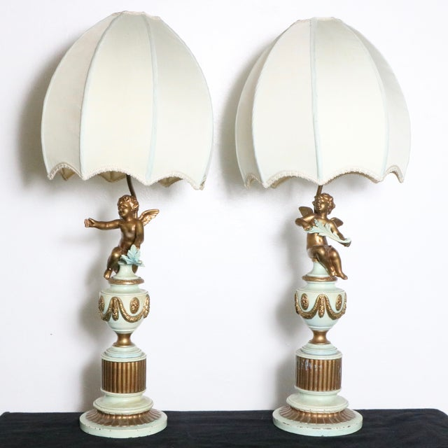 French Style Angel Table Lamps - A Pair - Image 2 of 8