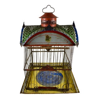 1800s American Hendryx Jappaned Metal Bird Cage For Sale
