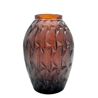 R. Lalique Grignom Molded Amber Glass Vase For Sale