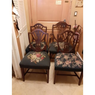 Marked Down- Moving. Vintage English Shield Back Mahogany Needlepoint Seat Chairs- Set of 4 Preview