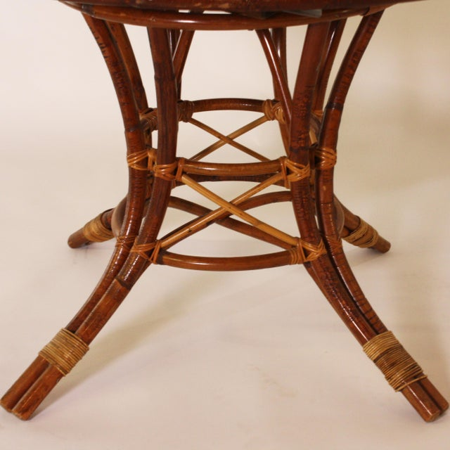 French Bamboo Round Table With Leaf C. 1960 For Sale In Dallas - Image 6 of 9
