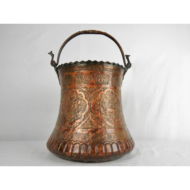 Boho Chic Large Moorish Copper & Pewter Pail For Sale - Image 3 of 10