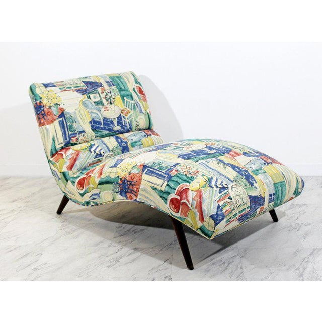 For your consideration is a fantastic, contoured wave, chaise lounge chair, with a scenic upholstery, by Adrian Pearsall,...