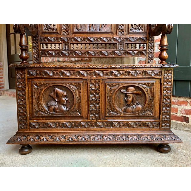 Late 19th Century 19th Century French Carved Oak Hall Bench Breton Brittany Pew Banquette For Sale - Image 5 of 13
