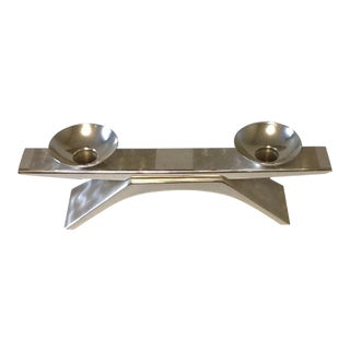 Vintage 1961 Wagenfeld Bauhaus Bridge Design, Silver-Plated Brass Candelabra For Sale