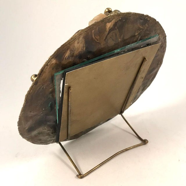 Metal 1970s Brutalist Brass Artisan-Made Picture Frame For Sale - Image 7 of 8