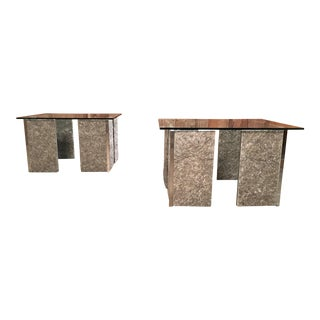 1970s Granite and Chrome End Tables-a Pair For Sale