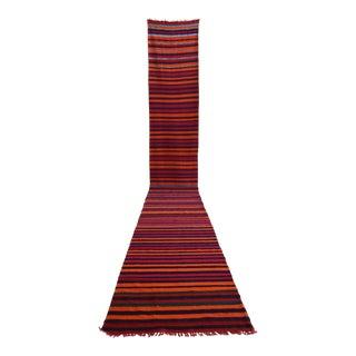 Vintage Turkish Handmade Striped Long Runner Stair Tread- 2′4″ × 18′3″ For Sale