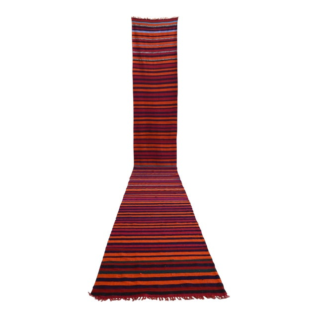 628316860 Vintage Turkish Handmade Striped Long Runner Stair Tread- 2′4″ × 18 ...