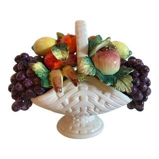 Beautiful Vintage Ceramic Basket of Fruit For Sale