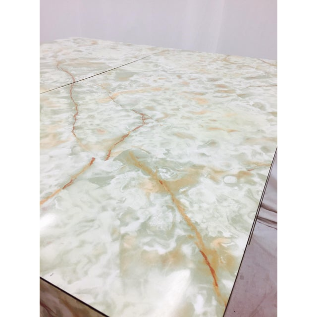 Vintage Mid-Century Modern Faux Marble Parsons Table For Sale - Image 9 of 9