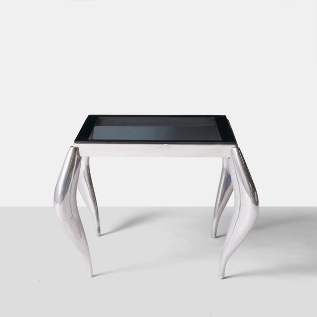 Aluminum wavy legged end tables in the style of Jordan Mozer - A Pair For Sale - Image 7 of 7