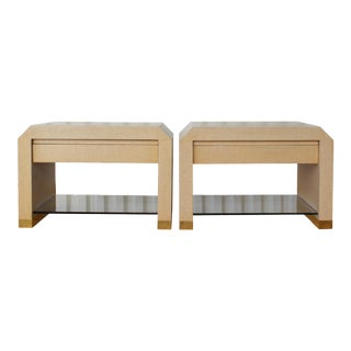 1980s Harrison Van Horn Lacquered Raffia Nightstands - a Pair For Sale