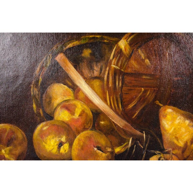 Traditional Early 20th Century Antique Fruit Basket Still Life Oil on Canvas Painting For Sale - Image 3 of 13