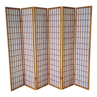 6 Panel Rice Paper Screen For Sale